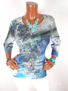 CHICO'S Sz 2 Womens Top M L Blue Floral Blouse Casual Shirt 3/4 Long Sleeves #Chicos #Blouse #Casual