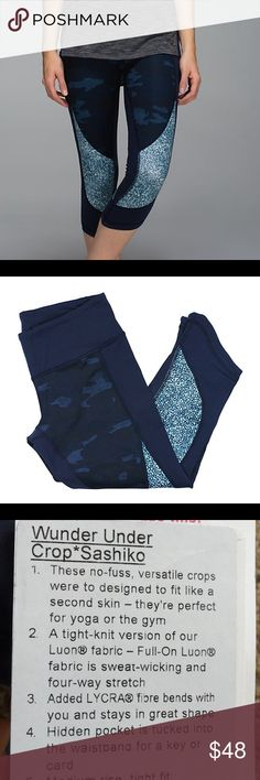 Lululemon Wunder Under Crop Sashiko Camo 6 Super cute and flattering! These are in good used condition with some pilling and stickiness. Plenty of life left. *tag does not come with item and is just used for product description. Comes from a smoke free home lululemon athletica Pants Leggings