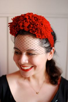 Grosgrain Fabulous' DIY 1940s Floral Pom Pom hat - see more of our Top 5 DIY Hats here http://blog.mjtrim.com/2012/06/17/top-5-diy-hats/