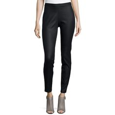 Eileen Fisher Coated Stretch Denim Leggings (795 MYR) ❤ liked on Polyvore featuring pants, leggings, black, form fitting pants, eileen fisher, stretch denim pants, stretch denim leggings and eileen fisher leggings