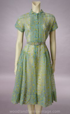 1950s Sheer Blue Rayon Dress w/Yellow Painted Floral Design | Woodland Farms Vintage