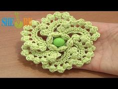 ▶ Crochet Spiral 6-Petal Flower Tutorial 60 part 1 of 2 Work Puff Stitches - YouTube
