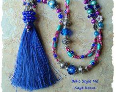 Bohemian Jewelry, Long Colorful Beaded Tassel Necklace, Blue and Purple, Bohemian Jewelry, Boho Style Me, Kaye Kraus