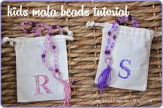 Yoga for Kids: DIY Mala Beads with personalized pouches via thrifterindisguise.com