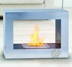 "30.7"" Silver Window Flame Fireplace"