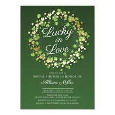 Lucky in Love Golden Shamrocks Bridal Shower Invitation - cards custom invitation card design marriage party Anniversary Party Invitations, Wedding Shower Invitations, Rehearsal Dinner Invitations, Anniversary Parties, Custom Invitations, Brunch Invitations, Green Gold Weddings, Modern Wedding Stationery, Lucky In Love