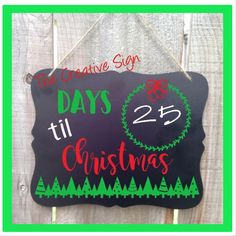 Days Till Christmas, Chalkboard, Christmas Countdown, Christmas Chalkboard, Kids Christmas Chalkboard, Christmas Sign by TheCreativeSign on Etsy