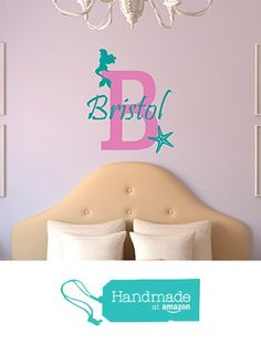 Personalized Name Mermaid Wall Decal from Sticky Wall Vinyl https://www.amazon.com/dp/B01CLHHODK/ref=hnd_sw_r_pi_dp_VS.GxbDFKSRN1 #handmadeatamazon