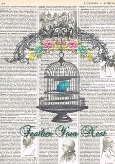Repurposed antique book pages with vintage birdcage illustrations; buy 3 get 1 free**** ****  I am in Canada; AVERAGE SHIPPING TIME TO U.S.A.