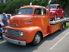 1948-1950 Ford extended cab COE, tandem rear with rollback deck and a lot of custom bodywork.