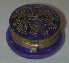 Beautiful Vintage Round Box Cobalt Blue Bohemian Glass with Hinged Lid Golden Overlay Foliage Decoration