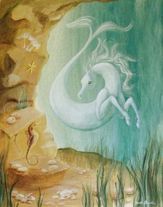 Mystical Sea Horse Print 8x10 Water color Gouache Paint