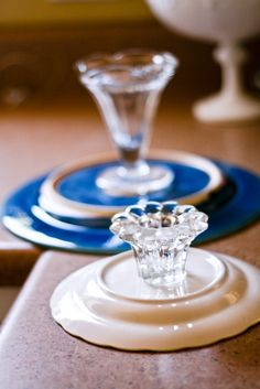 Cake stands made from thrift store finds and glue made for glass. So classy!