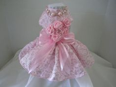 Dog Dress  XS   Pink with Roses   By Nina's by NinasCoutureCloset, $75.00