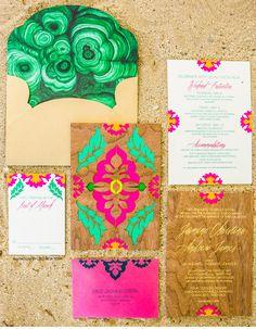 Luxury Wedding Invitations by Ceci New York -  Malachite-Inspired Tropical wedding invitation suite