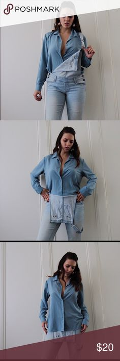 Vintage Baby Blue Button Down Blouse 👩🏻🏫 Working girl. 👩🏻🏫 This super soft, vintage, baby blue button-up is an amazing '80s-esque piece. I love it with something daring like leather pants, or with vintage Levi's and sneakers.   Size not listed, but would fit anyone from an XS to a Medium depending on how you want the fit. I am a Small to Medium, 5'9 for reference! Tops Button Down Shirts