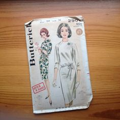 1960's shift dress sewing pattern 2907 butterick vintage mid century
