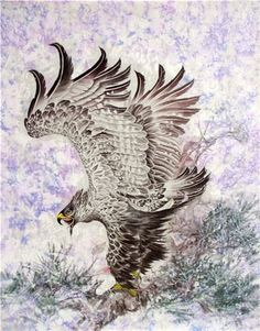 Chinese Eagle 0 x x Painting. Buy it online from InkDance Chinese Painting Gallery, based in China, and save Eagle Images, Eagle Pictures, Cowboy Pictures, Traditional Japanese Tattoos, Traditional Artwork, Eagle Painting, Painting Gallery, Japanese Prints, Drawing Techniques