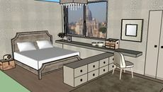 3D Model of beige bedroom