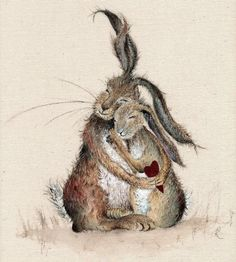 Hares my Heart - A Charming Rustic HARE Print of a heartwarming scene of affection and love, watercolour print, poster