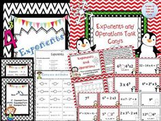 Exponents Bundle from Math From My Angle on TeachersNotebook.com -  (31 pages)  - This bundle contains two separate products that are great for introducing and/or reviewing exponents and operations with exponents. Included in the file are student practice printables, and task cards