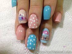mix blue nail art