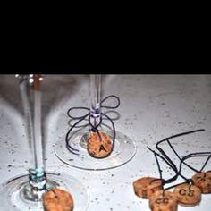 Wine cork glass labels