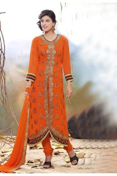 Georgette Orange Emrboidered Salwar Suit  - 15137