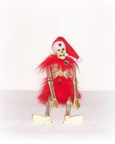 Eerie Santa Skeleton HoHoHo All Red Skeleton Art Doll Day Of The Dead Santa Skull Head Skeleton Doll EerieBeth Skellie Art Doll Goth Doll by ICreateAndCollect on Etsy