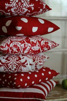 Beautiful cushions | red and white dots | home decor
