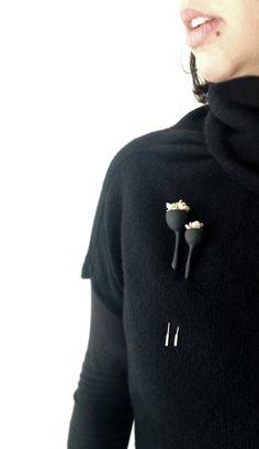 organic minimal contemporary polymer clay brooch ''black by eried