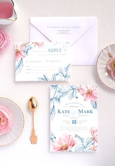 Navy Briar blooming flowers - Personalised wedding invitation suite with elegant and tender hand-painted watercolor florals. Wedding invitation, RSVP card and matching envelope. Visit out shop to see everything you need for a perfect reception. Unique wedding stationery design from wilove.boutique