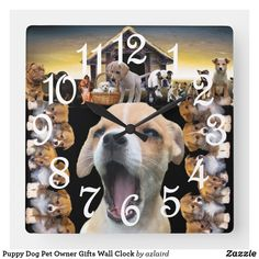 Shop Puppy Dog Pet Owner Gifts Wall Clock created by azlaird. Pet Dogs, Dogs And Puppies, Pets, Pretty Patterns, Bold Colors, Stripes, Display, Wall Clocks, Artwork