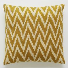 "Chevron Crewel Pillow Cover - Golden Gate, from West Elm, 20"" square. Machine wash, $44. This is the pillow cover only so we can re-use Orson inserts here."