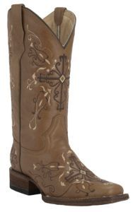 Corral Circle G Women's Antique Saddle Brown with Cross Embroidery Square Toe Western Boots   Cavender's