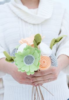 "Felt Floral Bouquet - ""Sweet Spring Air"" - Flowers for the Home, Bridesmaid Bouquet"