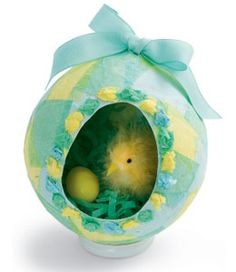 Paper Egg Diorama....Create a papier-mâché version of a panoramic sugar egg with a springtime scene tucked inside.