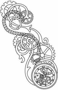 Steampunk Gears Coloring Pages - Bing Images Rose Coloring Pages, Adult Coloring Pages, Coloring Books, Rose Tattoos, New Tattoos, Pocket Watch Drawing, Steampunk Gears, Steampunk Pirate, Steampunk Bicycle