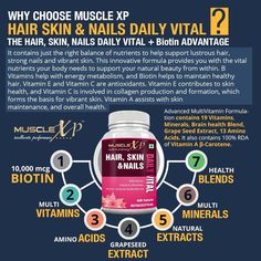 MuscleXP Hair Skin and Nails MultiVitamin with Biotin contains powerful grape seed extract specially combined with vitamins, minerals, amino acids, and nutrients important for helping to maintain or obtain healthy hair, skin and nails.