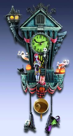 "Nightmare Before Christmas, Cuckoo Clock!!!! Tim Burton. Sound and movement! Instead of a traditional cuckoo on the hour, this clock plays ""This is Halloween"" while Zero pops in and out of the doors atop the Town Hall"
