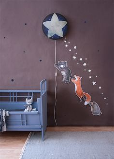 Another picture from our collection. The Little Star wall lamp sparkles through the night. Combine this with blue and white stars and the animal trio of little bear, fox and hedgehog. Happy Sunday to you all 💫. Nursery Wall Decor, Baby Room Decor, Fox Nursery, Space Themed Wallpaper, Room Wallpaper, Wall Ornaments, Kids Room Design, Baby Boy Rooms, Kids Decor