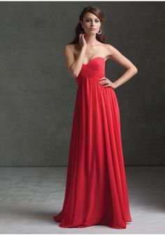 Sweetheart Floor Length Chiffon Princess Red Bridesmaid Dress