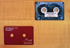 Brazilian audio studio. Die-cut, with a piece of tape for the name. | 20 Uniquely Brilliant Business Cards