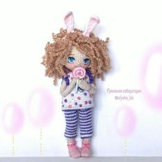 ♡ Crochet amigurumi doll with bunny ears and lolly pop.