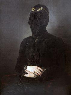 Markus Schinwald - Alicja, 2012, Oil on canvas, 97 x 73 cm.    http://www.yvon-lambert.com/2012/?page_id=4379