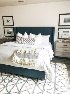 modern boho master bedroom with gray upholstered headboard and white bedding with boho pillow, nightstand decor, nightstand styling with wall decor in neutral bedroom design wiht boho rug Simple Bedroom Decor, Modern Bedroom Design, Master Bedroom Design, Home Decor Bedroom, Bedroom Ideas, Modern Decor, Modern Boho, Bedroom Romantic, Bedroom Images