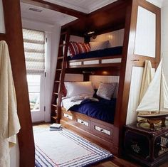 nautical bunk beds for bunk room Bunk Beds Boys, Bunk Beds Built In, Bunk Bed Plans, Bunk Rooms, Cool Bunk Beds, Bunk Bed Designs, Design Blog, Loft Spaces, Small Spaces