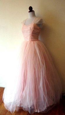 50's Pale pink Chiffon ruched cinderalla dress