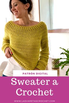 Sweater a Crochet - Patrón Digital, Source by bloominginchintz VEJA MAIS bloominginchintz. Mode Crochet, Crochet Diy, Crochet Woman, Easy Crochet Patterns, Crochet Stitches, Knitting Patterns, Crochet Summer Tops, Crochet Winter, Crochet Jumper