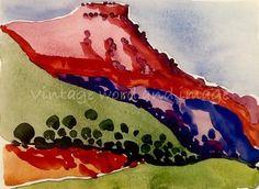 Georgia O'Keeffe New Mexico Landscape Art Print Vintage Lithograph American Modern Home Office Dorm Decor Abstract Red Mesa Southwestern Klimt, Georgia O'keefe Art, Georgia O Keeffe Paintings, Santa Fe Nm, Georgia Okeefe, Southwestern Art, Alfred Stieglitz, Pergola, American Modern
